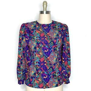 Vintage 80s Puff Shoulder Mosaic Satin Blouse M